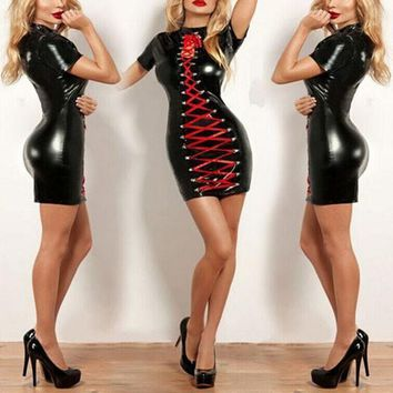 Black-Red Patchwork Hollow-out Lace-up Pu Leather Bodycon Club Midi Dress