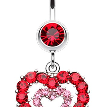 Double Layered Sparkling Heart Belly Button Ring
