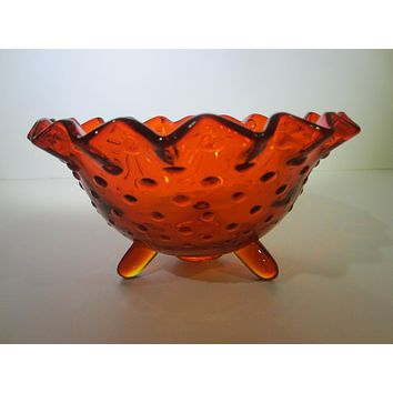 LE Smith Amberina Glass Hubnail Style Ruffled Footed Candy Bowl