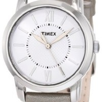 Timex Women's T2N683 Elevated Classics Dress Uptown Chic Silver Metallic Leather Strap Watch