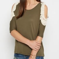 Green Crochet Cold Shoulder Dolman Top | Cold Shoulder | rue21