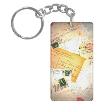 Vintage Letters Double-Sided Rectangular Acrylic Keychain