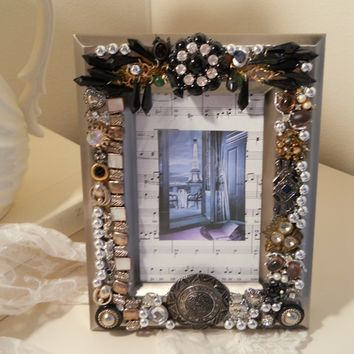 O la la...Jeweled Picture Frame Pewter black rhinestone bling silver handmade
