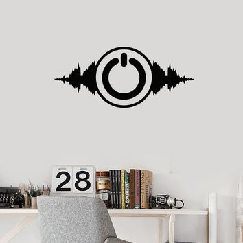Vinyl Wall Decal Power Button Music Musical Art Room Decor Stickers Mural (ig5666)
