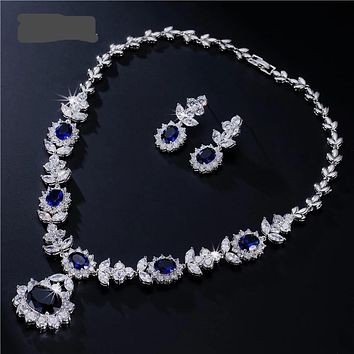 Luxury Sliver Color Dark Blue AAA Cubic Zirconia Jewelry Sets for Elegant Bridal Wedding Flower Jewelry
