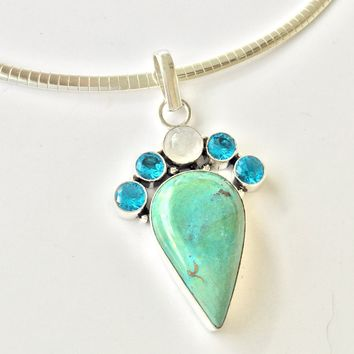 """Turquoise moonstone sterling silver pendant 2"""""""