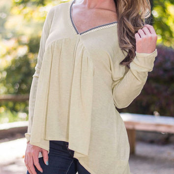 Beigh V-Neck High-Low Blouse