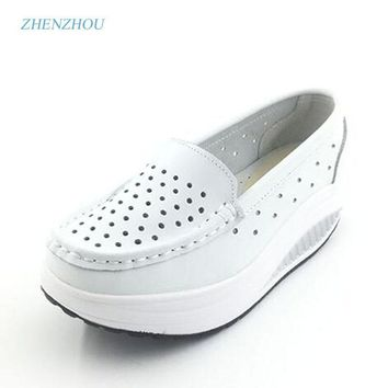 New 2017 Summer genuine leather cutout breathable swing shoes white nurse shoes wedges