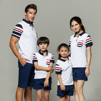 CREYHY3 2016 Family Clothes Sets Summer Style Cotton Striped Family Matching Shirts New Fashion Short T-Shirts Plus Size Family Look