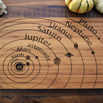 Geekery Engraved Wood Bamboo Cutting Board, solar system diagram with planet names, science student or teacher graduation gift, astronomy