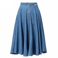 2016 Women Skater Skirt Summer Style Denim Buttoned Casual Midi High Waist Skirt Saia