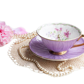Vintage Lilac Shelley Oleander Teacup, English Bone China, Pink White Floral Cup and Saucer, Art Deco Teacup, Wedding Gift for Her