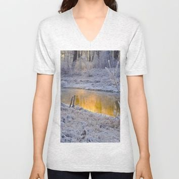 It's Gold Outside Unisex V-Neck by Mixed Imagery