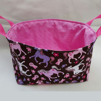 Pink Ponies Fabric Grooming Caddy, Fabric Bin, Diaper Caddy, Fabric Basket, Eco-Friendly, Gift for Horse