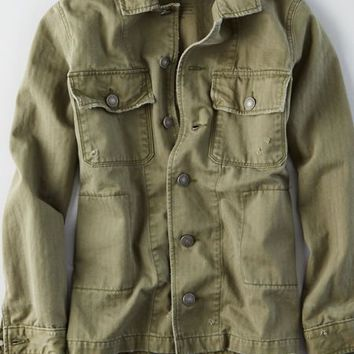 AEO Military Shirt Jacket , Olive | American Eagle Outfitters