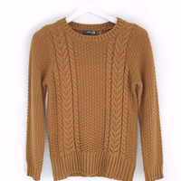 Rustic Cable Knit Sweater