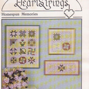 Heart Strings Homespun Memories counted cross stitch pattern leaflet 12 traditional quilt block sampler + wedding, birthday, baby gifts