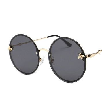 Gold metal bee vintage sunglasses luxury brand degner women's sun glasses pink mirror points rimless round sunglasses male UV400