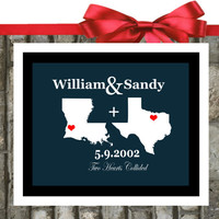 ANY Two States. Wedding Map Art. Unique Christmas Gifts For Couples, 8x10 Print, Custom Wedding Gift.