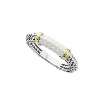 LAGOS 18K Gold and Sterling Silver White Caviar Stacking Ring | Bloomingdales's