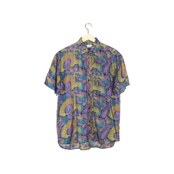 paisley silk shirt - vintage short sleeve button down - mens small