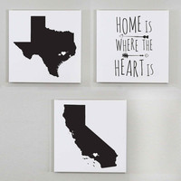 Home is Where the Heart Is Wall Art - Set of 3 Wall Canvases, 12x12 inches, Customized Wall Art, Personalized State Print, Custom State