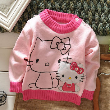 Children's Sweater Baby Clothing Kids' Winter Shoulder Button Sweater In Stock Free Shipping