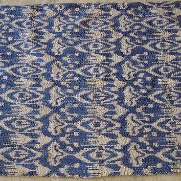Ikat Kantha Quilt in Blue, Queen size Ikat Blanket Throw, Kantha Blanket Throw, Embroidered Cotton Quilt Queen Size Bedspread, Home Decor