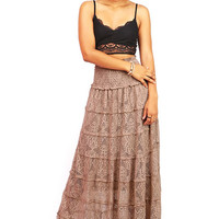 Lace Tier Maxi Skirt