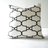 black white trellis pillow cover morrocan Tile pattern, White Black Trellis 16x16, 18 x18, 20x20