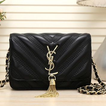 """Yves Saint Laurent YSL"" Women Personality Fashion V Embossed Metal Chain Single Shoulder Messenger Bag Tassel Small Square Bag"