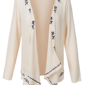 LE3NO Womens Lightweight Floral Print Long Sleeve Draped Kimono Cardigan