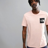 The North Face Fine T-Shirt Square Logo Exclusive to ASOS In Pink at asos.com