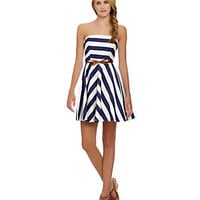 Jodi Kristopher Strapless Striped Dress																	 | Dillard's Mobile