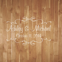 Wedding Dance Floor Decal- Wedding Dance Floor Decal With Scrolls- Vinyl Decor Reception Party Decor