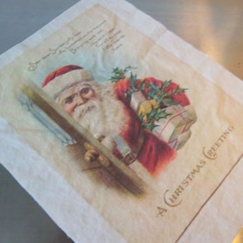 Santa fabric block cotton quilt square Christmas vintage reproduction primitive sewing art journal scrapbooking supply holiday decoration