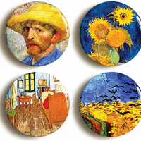 Vincent Van Gogh badge button pin set (Size is 1inch/25mm diameter) Post Impressionism, Art, Sunflowers