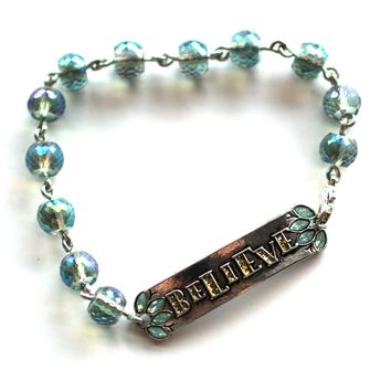 Believe Bracelet // Delicate Crystal Bead Bracelet // Motivational Gift