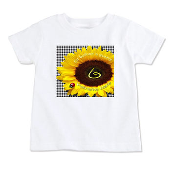 T-Shirt-Birthday T-Shirt-Party T-Shirt-Personalized-Custom T-Shirts-Sunflower & Lady Bug-Front Only