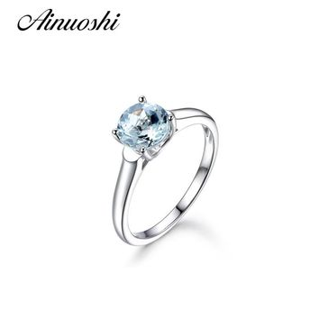 AINUOSHI New 925 Sterling Silver Solitaire Ring Light Blue Natural Topaz 0.8 Carat Round Cut Engagement Anniversary Women Ring