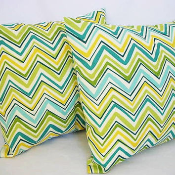2 Chevron Decorative Throw Pillow Covers in Green Yellow and Blue - 16 x 16 inches Cushion Cover Accent Pillow