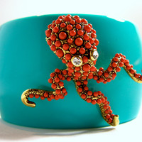 Kenneth Lane Faux Coral Encrusted Octopus and Turquoise Resin Clamper Bracelet