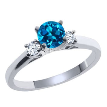 0.71 Ct Round London Blue and White Topaz 925 Sterling Silver Ring