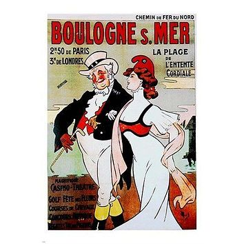 vintage art poster BOULOGNE cartoon characters FRENCH unique 24X36 GLAMOUR