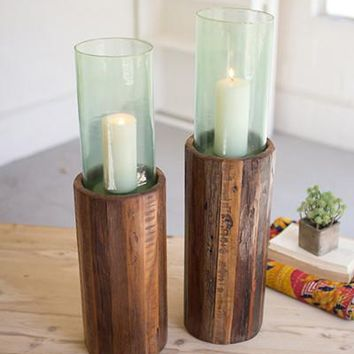 Set of 2 Recycled Wooden Pedestals With Glass Hurricanes