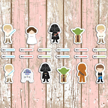 Star Wars Themed Planner Stickers | Erin Condren | Inkwell | Kikki K | Sticker | Plan | Movie | Jedi | Darth Vader | Star | Custom | Cute