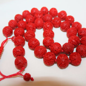 Vintage Cinnabar Necklace 1940s  Jewelry Chinese Carved Bead Necklace