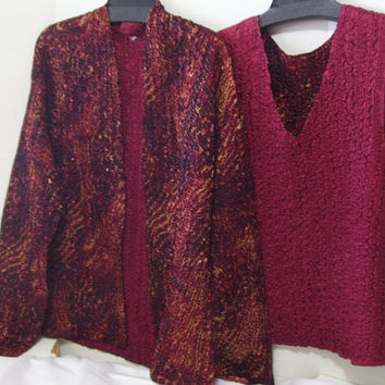 Reversible Satin Evening Jacket and Top Set Burgundy / Wine / Cranberry / Gold Solid to Print resort cruise wear  Size M-L-Extra Large