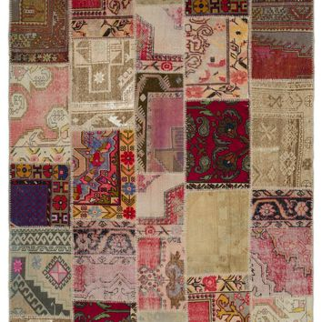 ANATOLIA OVERDYED PATCHWORK UNIQUE RUG 6'3'' X 9'3'' FT 190 X 281 CM