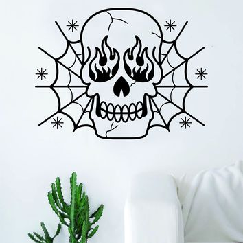 Traditional Skull Spiderwebs Flames Tattoo Decal Sticker Wall Vinyl Art Home Decor Beautiful Living Room Bedroom